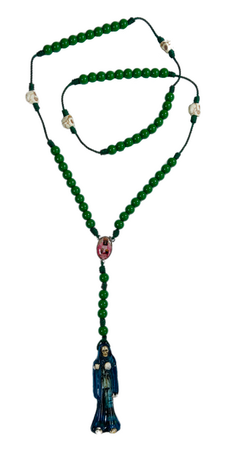 "Muerte Holy Death Spiritual Rosary Necklace For Making Positive Changes & Brighter Future (Green With 2"" Figure Pendant)"