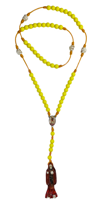 "Muerte Holy Death Spiritual Rosary Necklace For Making Positive Changes & Brighter Future (Yellow With 2"" Figure Pendant)"