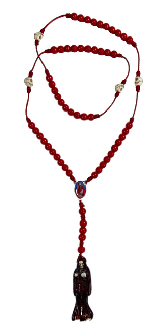 "Muerte Holy Death Spiritual Rosary Necklace For Making Positive Changes & Brighter Future (Red With 2"" Figure Pendant)"