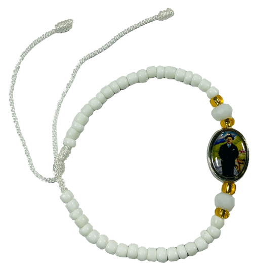 Holy Doctor Jose Gregorio Hernandez Please Cure My Body & Soul By Your Grace Spiritual Bead Bracelet For Healing Of Illness & Addictions (Version 1 White)