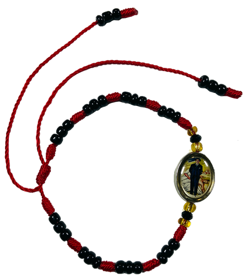 Holy Doctor Jose Gregorio Hernandez Please Cure My Body & Soul By Your Grace Spiritual Bead Bracelet For Healing Of Illness & Addictions (Version 2 Red Black)