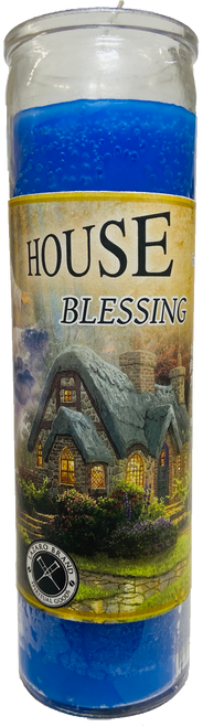 House Blessing 7 Day Prayer Candle For Peace, Safety, Comfort, Health & Happiness At Home (Blue)