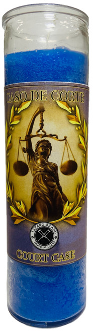 Court Case 7 Day Prayer Candle For   Victory In Legal Issues, Police Problems, Court Cases, Restraining Orders, ETC. (Blue)