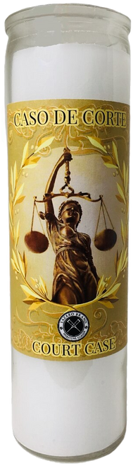 Court Case 7 Day Prayer Candle For   Victory In Legal Issues, Police Problems, Court Cases, Restraining Orders, ETC. (White)