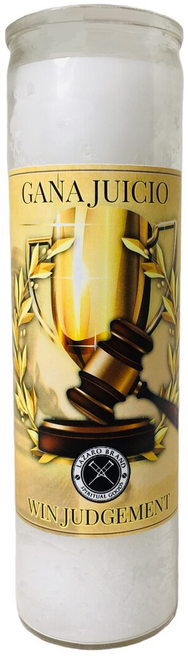 Win Judgement 7 Day Prayer Candle For   Victory In Legal Issues, Police Problems, Court Cases, Restraining Orders, ETC. (White)