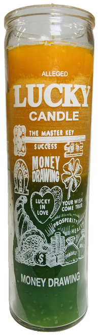 Lucky Candle Money Drawing 7 Day Prayer Candle The Master Key Of Success (Green/Orange)