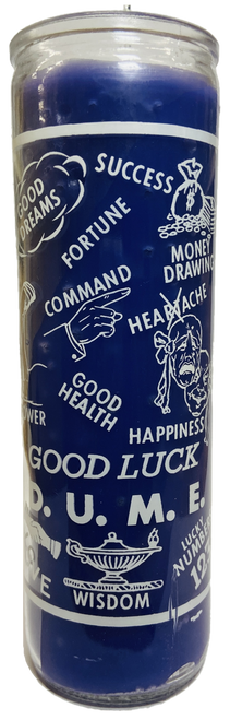 Good Luck 7 Day Prayer Candle For Success, Fortune, Happiness, Wisdom, Good Dreams, ETC. (Blue) (Scented)