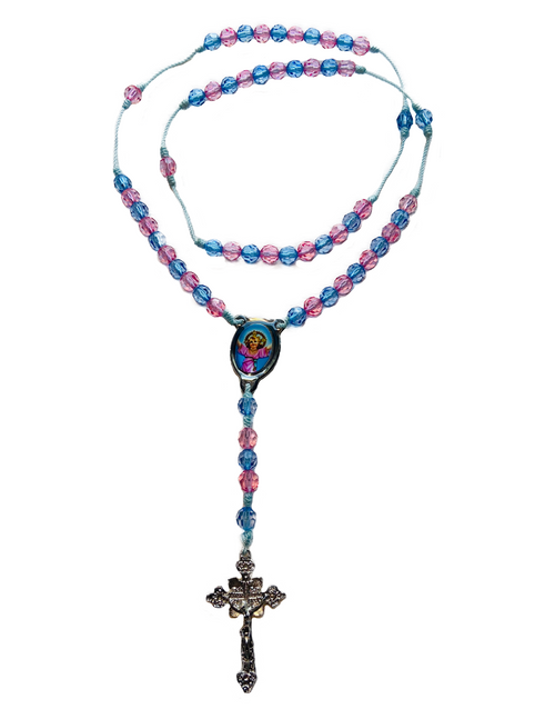 Divine Child Jesus Divino Nino Spiritual Rosary Necklace To Alleviate Suffering, Inner Peace & Divine Blessings (Pink Blue)