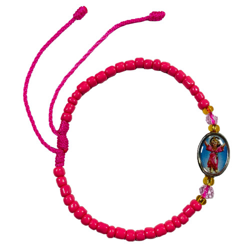 Divine Child Jesus Divino Nino Spiritual Bead Bracelet To Alleviate Suffering, Inner Peace & Divine Blessings (Pink)