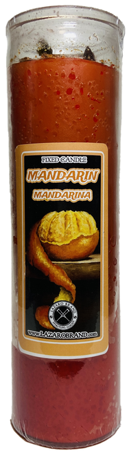 Mandarin Dressed & Blessed 7 Day Prayer Candle For Good Luck, Happiness & Prosperity