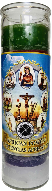 7 African Powers 7 Potencias 7 Day Prayer Candle To Overcome Obstacles & Protection From Harm (Multicolor)