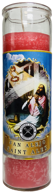 Saint Alex San Alejo 7 Day Prayer Candle To Keep Enemies Away & Rid Of Unwanted Influences (Pink)