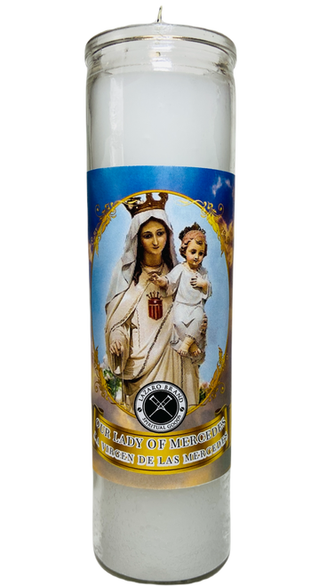 Our Lady Of Mercedes Virgen De Las Mercedes 7 Day Prayer Candle (White)