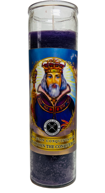 High John The Conqueror Juan Conquistador 7 Day Prayer Candle For Justice In Court Case, Victory Over Struggle, Gain Confidence, ETC. (Purple)