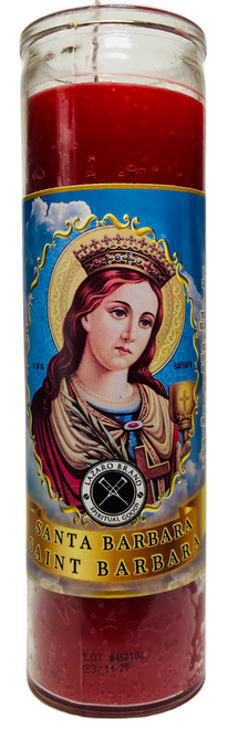 Saint Barbara Santa Barbra 7 Day Prayer Candle For Protection From Danger With The Strength Of Thunder & Lightning (Red)