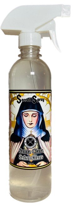 Saint Claire Santa Clara Sacred Spray For Aid In Making Decisions & Clearing Out Mental Stress (16oz)