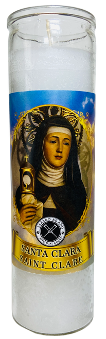 Saint Claire Santa Clara 7 Day Prayer Candle For Aid In Making Decisions & Clearing Out Mental Stress (White)