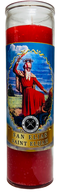 Saint Elijah San Elias Spiritual Father On Mount Carmel Baron Of The Cemetery Of The 21 Divisions 7 Day Prayer Candle (Red)