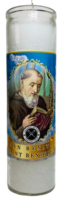 Saint Benedict San Benito 7 Day Prayer Candle For Protection From Enemies & Increase Your Inner Strength (White)