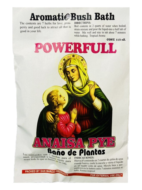 Powerful Anaisa Pye Saint Anne Santa Anaisa Patron Saint Of Family Herb Bath Aromatic Bush Bath For Love, Peace At Home, Family Bonding & Happiness (Boil Herbs In Water To Prepare)