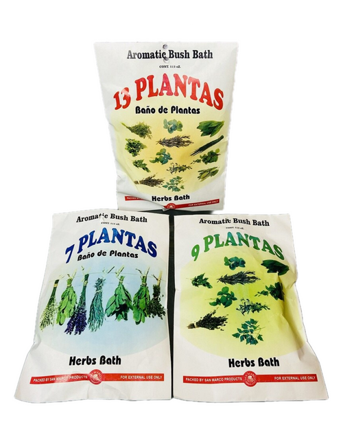 7 & 9 & 13 Plants Herb Bath 7 & 9 & 13 Plantas Herb Bath Aromatic Bush Bath For Purification & Spiritual Cleansing (Boil Herbs In Water To Prepare) (3 Pack)