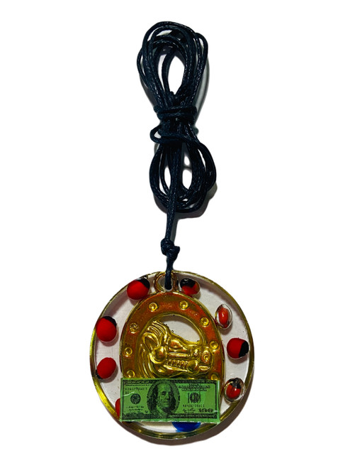 Lucky Horseshoe Money Good Luck Charm Talisman Necklace (Red)