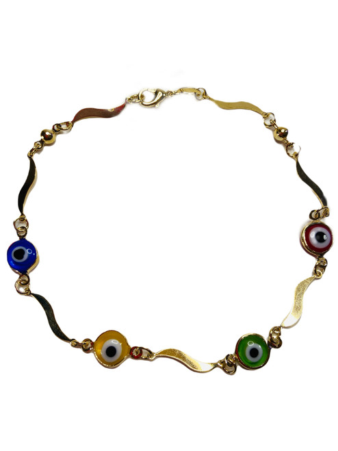 Evil Eye Spiritual Ankle Bracelet To Ward Off Evil & Attract Good Luck (4 Color Eyes)