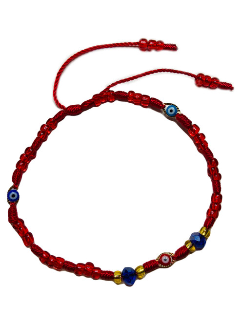 Evil Eye Spiritual Ankle Bracelet To Ward Off Evil & Attract Good Luck (3 Eyes Red String)