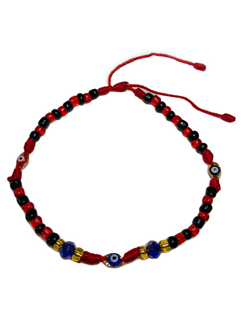 Evil Eye Spiritual Ankle Bracelet To Ward Off Evil & Attract Good Luck (Red & Black Beads)