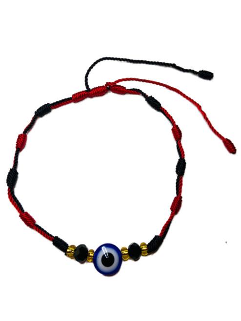 Evil Eye Spiritual Ankle Bracelet To Ward Off Evil & Attract Good Luck (1 Eye Red/Black String)