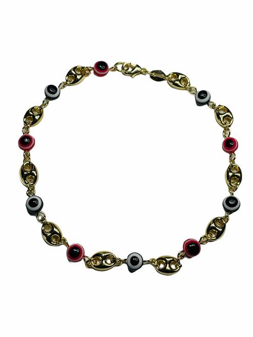 Evil Eye Spiritual Ankle Bracelet To Ward Off Evil & Attract Good Luck (Eyes & Links)