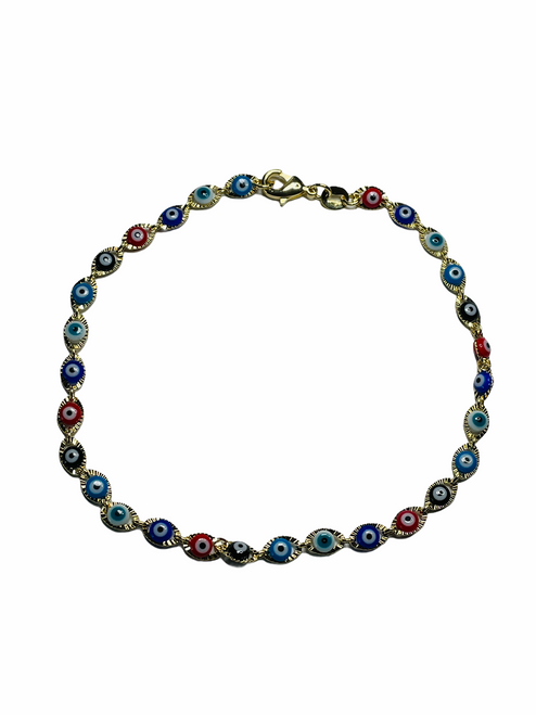 Evil Eye Spiritual Ankle Bracelet To Ward Off Evil & Attract Good Luck (Multi Color Eyes)