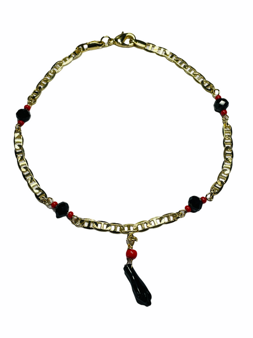 Mano Azabache Power Fist Ankle Bracelet To Ward Off Evil & Attract Good Luck