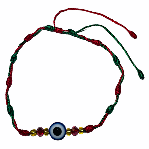 Evil Eye Spiritual Ankle Bracelet To Ward Off Evil & Attract Good Luck (Eye W/ Green & Red String)