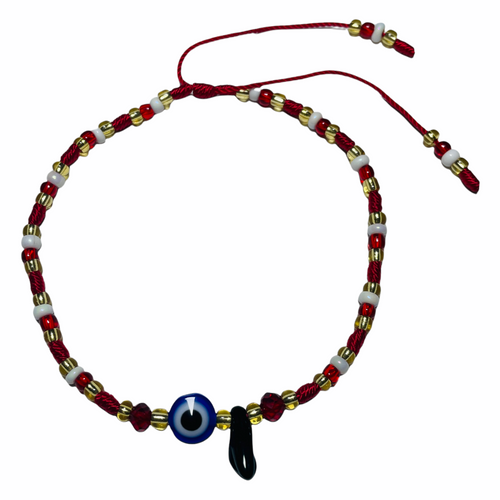 Mano Azabache Power Fist & Evil Eye Spiritual Ankle Bracelet To Ward Off Evil & Attract Good Luck (Gold, Red & White)