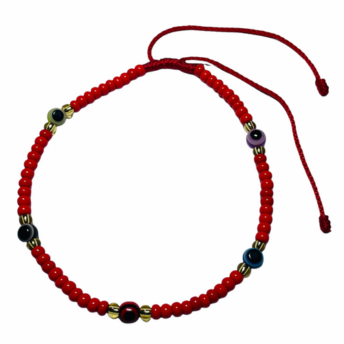 Evil Eye Spiritual Ankle Bracelet To Ward Off Evil & Attract Good Luck (Red Beads)