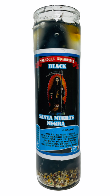 Santa Muerte Holy Death Scented Gel Candle W/ Figure Inside For Making Positive Changes Time To End Suffering Cut Negative Influences Brighter Future (Black)
