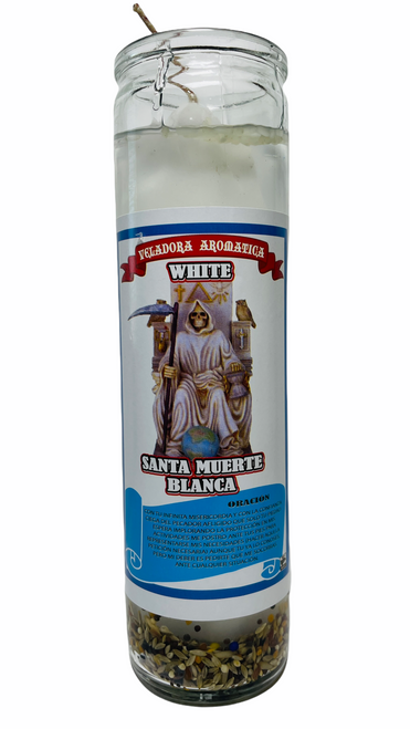 Santa Muerte Holy Death Scented Gel Candle W/ Figure Inside For Making Positive Changes Time To End Suffering Cut Negative Influences Brighter Future (White)