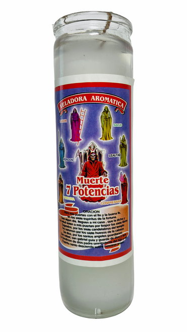Santa Muerte 7 Powers Scented Gel Candle W/ Figures Inside For Making Positive Changes Time To End Suffering Cut Negative Influences Brighter Future (White)