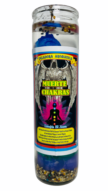 Santa Muerte 7 Chakras Scented Gel Candle W/ Figure Inside For Making Positive Changes Time To Cleanse Your Aura (Multicolor)