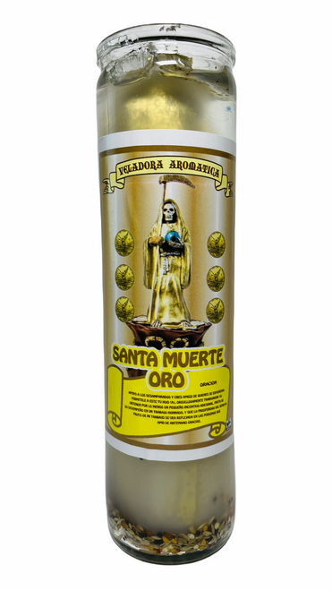 Santa Muerte Holy Death Scented Gel Candle W/ Figure Inside For Making Positive Changes Time To End Suffering Cut Negative Influences Brighter Future (Gold)
