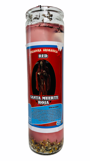 Santa Muerte Holy Death Scented Gel Candle W/ Figure Inside For Making Positive Changes Time To End Suffering Cut Negative Influences Brighter Future (Red)