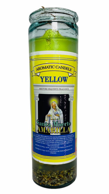 Santa Muerte Holy Death Scented Gel Candle W/ Figure Inside For Making Positive Changes Time To End Suffering Cut Negative Influences Brighter Future (Yellow)