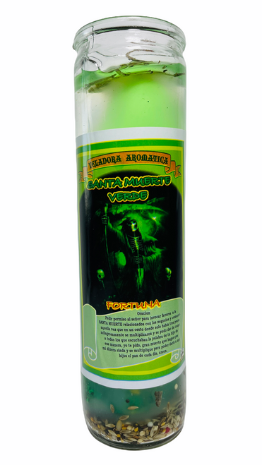 Santa Muerte Fortune Scented Gel Candle W/ Figure Inside For Making Positive Changes Time To End Suffering Cut Negative Influences Brighter Future (Green)