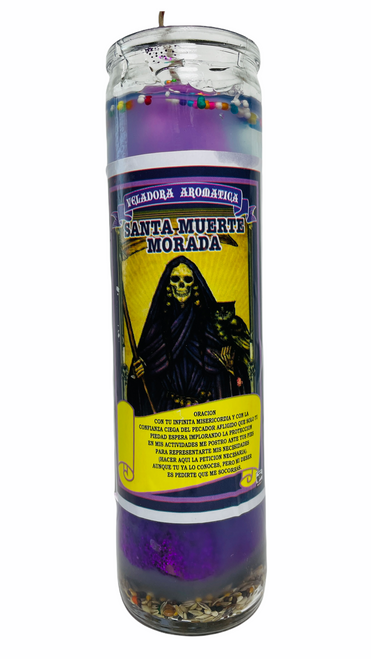 Santa Muerte Holy Death Scented Candle W/ Figure Inside For Making Positive Changes Time To End Suffering Cut Negative Influences Brighter Future (Purple)