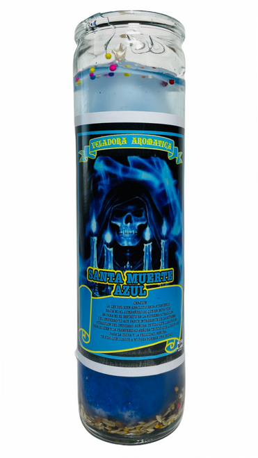 Santa Muerte Holy Death Scented Gel Candle W/ Figure Inside For Making Positive Changes Time To End Suffering Cut Negative Influences Brighter Future (Blue)