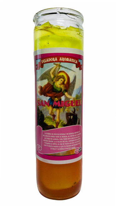 Archangel Saint Michael San Miguel Scented Gel Candle W/ Figure Inside For Making Positive Changes Time To Fight Against All Evils & Protect Your Soul
