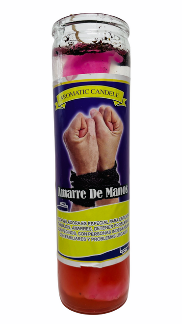 Tie His Hands Amarre De Manos Scented Gel Candle W/ Figure Inside To Have A Commanding Influence On Someone & Exercise Control Over Them