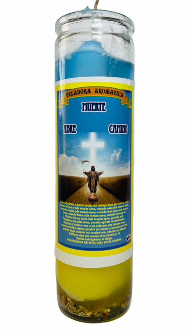 Santa Muerte Path Opener Abre Camino Scented Gel Candle W/ Figure Inside To Open Your Pathway To Success & Clear Away Obstacles