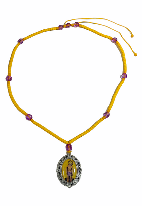 Saint Lazarus San Lazaro The Patron Saint Of Healing Image Necklace For Recovery From Illness & Addiction (Gold)